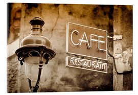 Acrylic print  Cafe sign and lamp post, Paris, France. - age fotostock