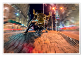 Premium poster Wall Street bull at nighttime, Bowling Green; New York City, New York, United States of America