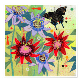 Premium poster Black swallowtail and passion flowers