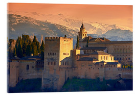 Acrylic print  Sierra Nevada and the Alhambra at sunset - age fotostock