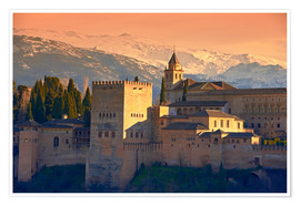 Premium poster  Sierra Nevada and the Alhambra at sunset - age fotostock