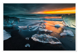 Premium poster  Ice chunks in the glacier lagoon - Arnold Schaffer