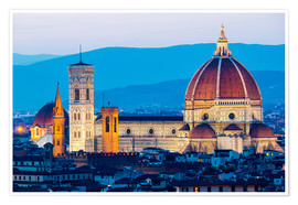 Premium poster Cathedral and Brunelleschi cathedral in Florence