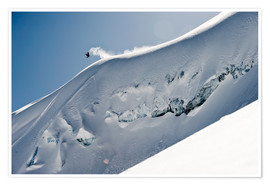 Premium poster  Freeriding snowboarder on a snowy slope - Dean Blotto Gray