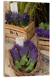 Wood print  Baskets with lavender bouquets - Brenda Tharp