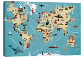 Canvas  World map with animals - coico