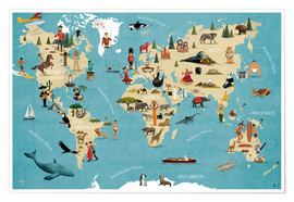 Premium poster World map with animals (German)