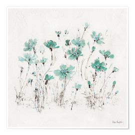 Premium poster Wildflowers in turquoise