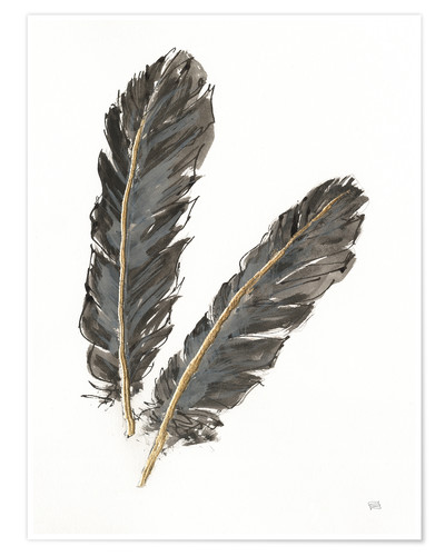 Poster Gold Feathers IV on White