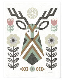 Poster  Folk Lodge Deer II Hygge - Michael Mullan