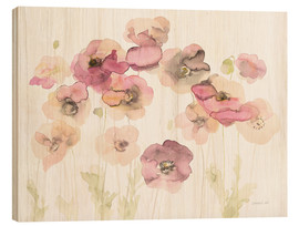 Wood print  Delicate Poppies - Danhui Nai