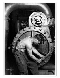 Premium poster Worker on steam engine