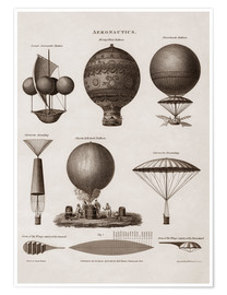 Premium poster Illustration of early hot air balloon designs