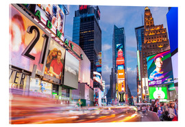 Acrylic print  Passing vehicles in front of the billboards of Times Square in New York - Neale Clarke