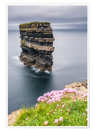 Premium poster Downpatrick Head in front of Gray Lake in Ireland
