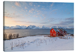 Canvas print  Norwegian wooden huts in the sunset - Roberto Moiola
