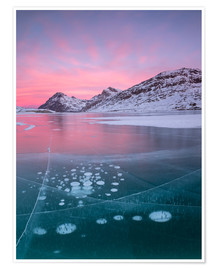 Premium poster Ice bubbles in Lake Bianco, Switzerland