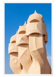 Premium poster Chimney sculptures at Casa Mila, Barcelona