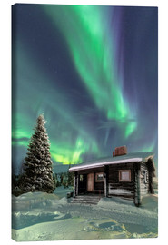 Canvas print  Northern Lights frame a wooden hat - Roberto Moiola