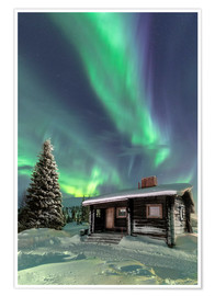 Premium poster  Northern Lights frame a wooden hat - Roberto Sysa Moiola