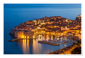 Premium poster  Old port and old town Dubrovnik in the evening - Neale Clarke