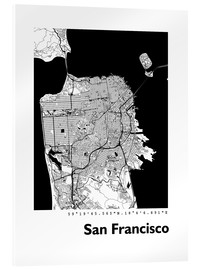 Acrylic glass  City map of San Francisco - 44spaces