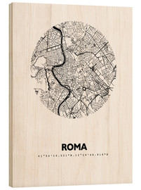 Wood print  Map of Rome - 44spaces