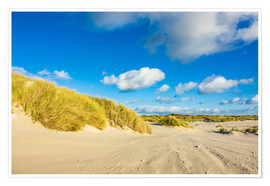Premium poster Landscape with dunes on the island Amrum, Germany