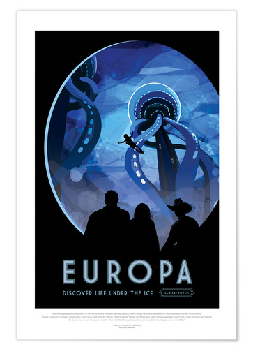 Premium poster Retro Space Travel - Europe