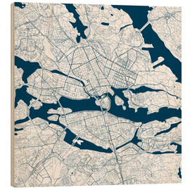 Wood print  City map of Stockholm - 44spaces