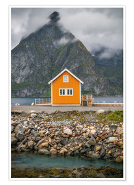 Premium poster  The yellow fisherman's house in the Lofoten - Sören Bartosch
