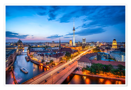 Premium poster  The skyline of Berlin at night - Jan Christopher Becke
