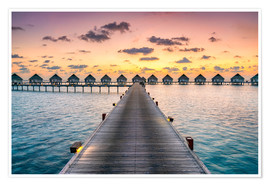 Premium poster  Romantic sunset in the Maldives - Jan Christopher Becke