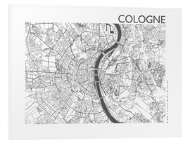Foam board print  City map of Cologne - 44spaces