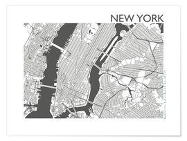 Premium poster  City map of New York - 44spaces