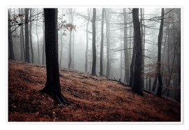 Premium poster Mystical fog in the resin forest