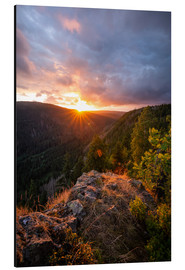 Aluminium print  Dramatic sunset on a cliff in the Harz - Oliver Henze