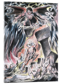 Acrylic print  jobs sons and daughters overwhelmed by satan - William Blake