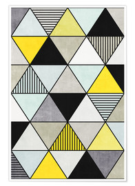 Premium poster  Colorful Concrete Triangles 2 - Yellow, Blue, Grey - Zoltan Ratko