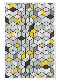 Premium poster Colorful Concrete Cubes - Yellow, Blue, Gray