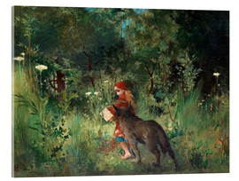 Acrylic print  Little Red Riding Hood and the Wolf - Carl Larsson