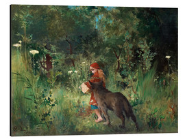 Aluminium print  Little Red Riding Hood and the Wolf - Carl Larsson
