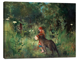 Canvas print  Little Red Riding Hood and the Wolf - Carl Larsson