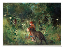 Premium poster  Little Red Riding Hood and the Wolf - Carl Larsson