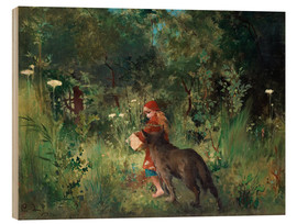 Wood print  Little Red Riding Hood and the Wolf - Carl Larsson