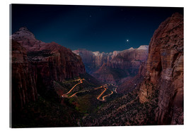 Acrylic print  Night shot from Canyon Overlook, Zion National Park, Utah, USA - Markus Ulrich