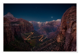 Premium poster Night shot from Canyon Overlook, Zion National Park, Utah, USA