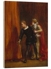 Wood print  Hamlet and his mother - Eugene Delacroix