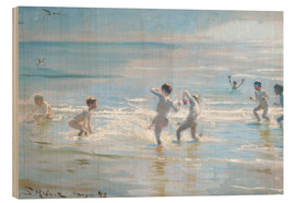 Wood print  Boys bathing on a summer evening at Skagen Beach - Peder Severin Krøyer