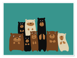 Premium poster  Bear friends turquoise - Kidz Collection